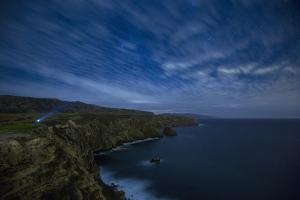 Santa Cruz Island, Channel Islands NP, CA: Man Stands With A Headlamp Along The Cavern Point Trail by Ian Shive
