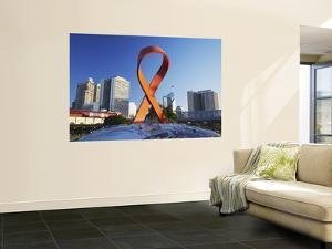 Aids Ribbon Sculpture with Downtown Skyscrapers in Background, Durban, Kwazulu-Natal, South Africa by Ian Trower