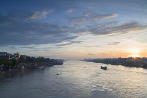 Ben Tre River at Dawn, Ben Tre, Mekong Delta, Vietnam, Indochina, Southeast Asia, Asia by Ian Trower