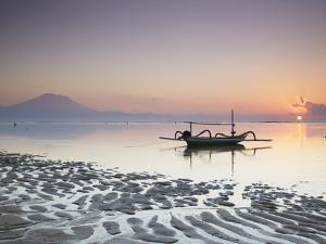 Boat on Sanur Beach at Dawn, Bali, Indonesia by Ian Trower