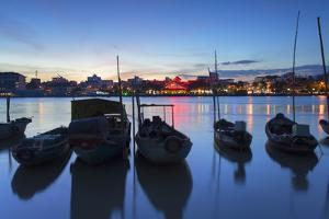 Boats on Can Tho River at Sunset, Can Tho, Mekong Delta, Vietnam, Indochina, Southeast Asia, Asia by Ian Trower