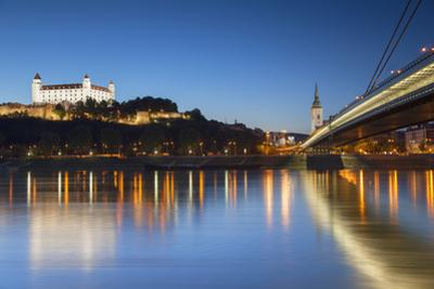 Bratislava Castle, St Martin's Cathedral and New Bridge at Dusk, Bratislava, Slovakia