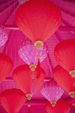 Chinese New Year Lanterns, Kowloon Bay, Kowloon, Hong Kong, China, Asia by Ian Trower