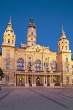 City Hall at Dusk, Gyor, Western Transdanubia, Hungary, Europe by Ian Trower