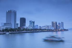 City Skyline Along Han River at Dusk, Da Nang, Vietnam, Indochina, Southeast Asia, Asia by Ian Trower