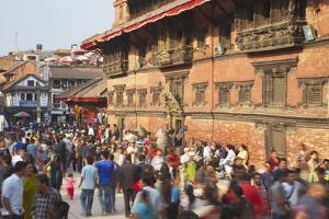 Crowds Outside Patan Museum by Ian Trower
