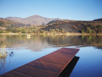 Fishing Boat on Lake and Drakensberg Mountains, Ukhahlamba-Drakensberg Park, Kwazulu-Natal