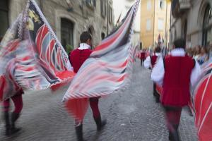 Flag Bearers in Medieval Festival of La Quintana, Ascoli Piceno, Le Marche, Italy by Ian Trower