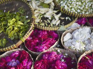 Flowers Prepared for Offerings, Yogyakarta, Java, Indonesia by Ian Trower