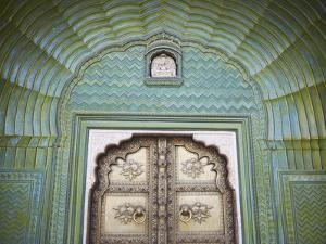 Green Gate in Pitam Niwas Chowk, City Palace, Jaipur, Rajasthan, India by Ian Trower