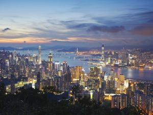 Hong Kong Island and Kowloon Skylines at Sunset, Hong Kong, China by Ian Trower