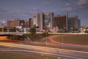 Hotel Sector, Dusk, Brasilia, Federal District, Brazil, South America by Ian Trower