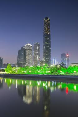 International Finance Centre and Skyscrapers in Zhujiang New Town at Dusk by Ian Trower