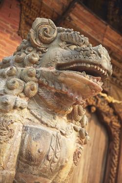 Lion Statue, Durbar Square, Patan, UNESCO World Heritage Site, Kathmandu, Nepal, Asia by Ian Trower