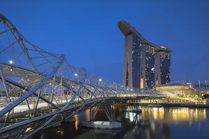Marina Bay Sands Hotel and Helix Bridge, Marina Bay, Singapore by Ian Trower