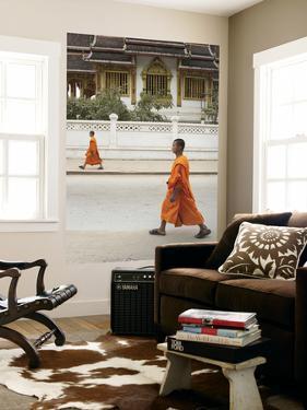 Monks Walking Down Street, Luang Prabang, Laos by Ian Trower