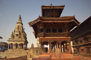 Moonlit View of Durbar Square, Bhaktapur, UNESCO World Heritage Site, Kathmandu Valley, Nepal, Asia by Ian Trower