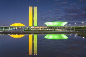 National Congress at Dusk, Brasilia, Federal District, Brazil by Ian Trower