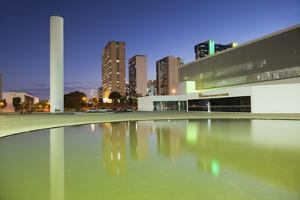 National Library, Skyscrapers, Duskbrasilia, Federal District, Brazil, South America by Ian Trower