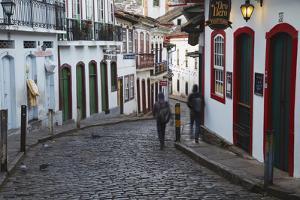 People Walking Along Street, Ouro Preto, UNESCO World Heritage Site, Minas Gerais, Brazil by Ian Trower