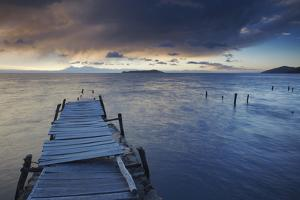 Pier on Isla del Sol (Island of the Sun) at Dawn, Lake Titicaca, Bolivia, South America by Ian Trower