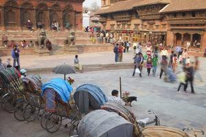 Rickshaws in Durbar Square, UNESCO World Heritage Site, Kathmandu, Nepal, Asia by Ian Trower