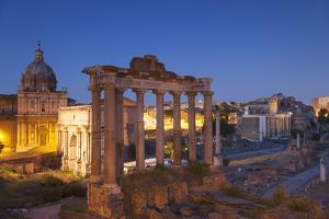 Roman Forum (Unesco World Heritage Site) at Dusk, Rome, Lazio, Italy by Ian Trower