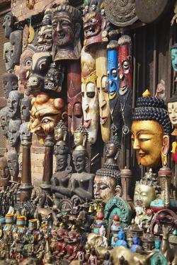 Souvenir Masks, Bhaktapur, Kathmandu Valley, Nepal, Asia by Ian Trower