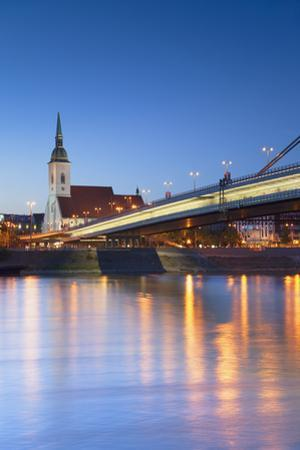 St Martin's Cathedral and New Bridge at Dusk, Bratislava, Slovakia by Ian Trower