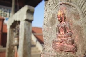 Statue at Bhagwati Shiva Temple, Dhulikhel, Kathmandu Valley, Nepal, Asia by Ian Trower