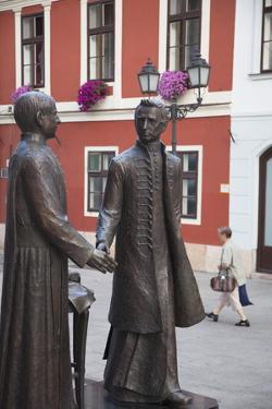 Statue of Anyos Jedlik and Gergely Czuczor in Szechenyi Square by Ian Trower