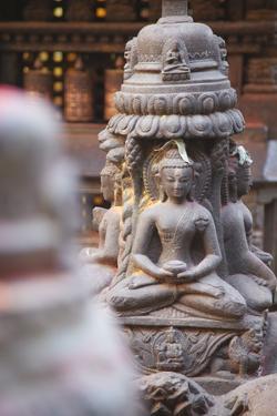 Statues at Swayambhunath Stupa, UNESCO World Heritage Site, Kathmandu, Nepal, Asia by Ian Trower