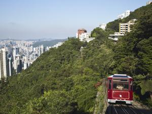 The Peak Tram Ascending Victoria Peak, Hong Kong, China by Ian Trower