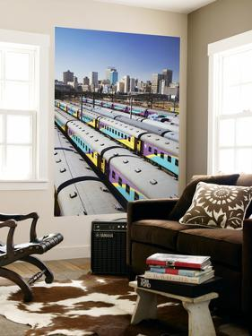 Train Carriages at Park Station with City Skyline in Background, Johannesburg by Ian Trower