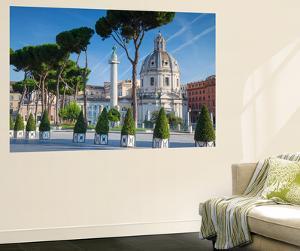 Trajan's Column in Trajan's Forum and Church of Santa Maria Di Loreto, Rome, Lazio by Ian Trower