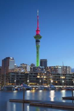 Viaduct Harbour and Sky Tower at Dusk, Auckland, North Island, New Zealand by Ian Trower