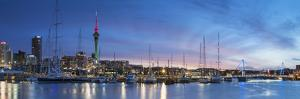 Viaduct Harbour and Sky Tower at Sunset, Auckland, North Island, New Zealand by Ian Trower