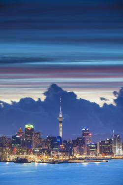 View of Auckland at Dusk, Auckland, North Island, New Zealand by Ian Trower