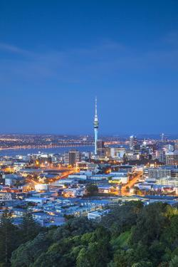 View of Auckland from Mount Eden at Dusk, Auckland, North Island, New Zealand by Ian Trower