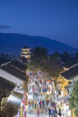 View of Dali at dusk, Yunnan, China, Asia by Ian Trower