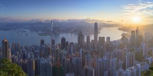 View of Hong Kong Island Skyline at Dawn, Hong Kong, China by Ian Trower