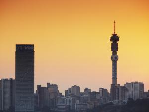 View of Johannesburg Skyline at Sunset, Gauteng, South Africa by Ian Trower