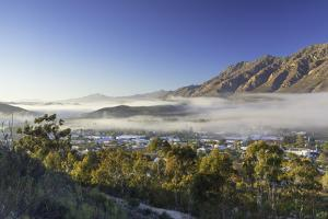 View of mist over Montagu at dawn, Western Cape, South Africa, Africa by Ian Trower