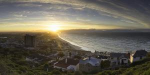 View of Muizenberg Beach at sunrise, Cape Town, Western Cape, South Africa, Africa by Ian Trower