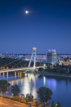 View of New Bridge at Dusk, Bratislava, Slovakia