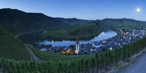 View of River Moselle at dusk, Bremm, Rhineland-Palatinate, Germany, Europe by Ian Trower