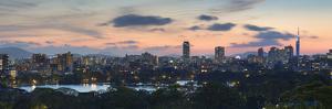 View of Skyline of Coastal Area of Fukuoka at Sunset, Kyushu, Japan by Ian Trower