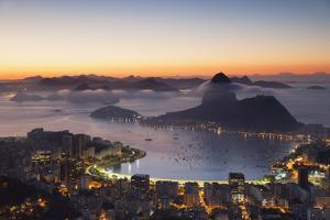 View of Sugarloaf Mountain and Botafogo Bay at Dawn, Rio De Janeiro, Brazil, South America by Ian Trower