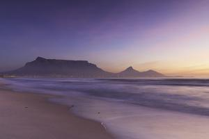 View of Table Mountain from Milnerton Beach at sunset, Cape Town, Western Cape, South Africa, Afric by Ian Trower