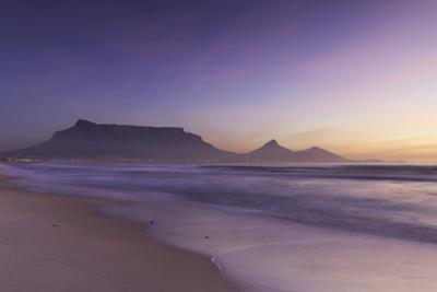 View of Table Mountain from Milnerton Beach at sunset, Cape Town, Western Cape, South Africa, Afric